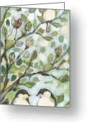 Impressionist Greeting Cards - Mos Chickadees Greeting Card by Jennifer Lommers