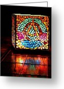 Music Glass Art Greeting Cards - Mosaic Alpha and Omega Greeting Card by Ted Hebbler