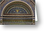 Sculptural Greeting Cards - Mosaic and Shell Fountain Getty Villa Malibu California Greeting Card by Teresa Mucha