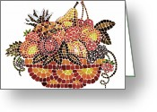 Apricot Painting Greeting Cards - Mosaic Fruits Greeting Card by Irina Sztukowski