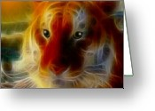 Textured Artwork Greeting Cards - Mosaic Glass Tiger Greeting Card by Madeline M Allen