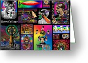Satty Greeting Cards - Mosaic of RetroCollage I Greeting Card by Eric Edelman