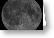 Lunar Mare Greeting Cards - Mosaic Of The Lunar Nearside Greeting Card by Stocktrek Images