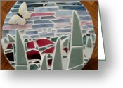 Glass Ceramics Greeting Cards - Mosaic Sailboats Greeting Card by Jamie Frier