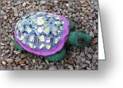 Rocks Ceramics Greeting Cards - Mosaic Turtle Greeting Card by Jamie Frier