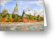 Buildings Drawings Greeting Cards - Moscow River Greeting Card by Svetlana Sewell