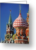 Religion Photo Greeting Cards - Moscow, Spasskaya Tower And St. Basil Cathedral Greeting Card by Vladimir Zakharov