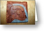 Uganda Pottery Greeting Cards - Moses - tile Greeting Card by Gloria Ssali
