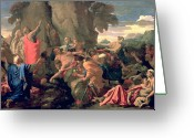 Poussin Greeting Cards - Moses Striking Water from the Rock Greeting Card by Nicolas  Poussin