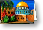 Architecture Painting Greeting Cards - Mosque - Dome of the rock Greeting Card by Patricia Awapara