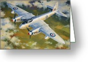 Fighters Painting Greeting Cards - Mosquito Survey Flight Greeting Card by Colin Parker