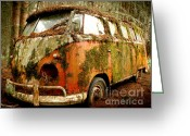Deluxe Greeting Cards - Moss Covered 23 Window Bus Greeting Card by Michael David Sorensen
