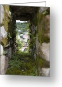 Battlement Greeting Cards - Moss Covered Battlement Hole In Ancient Greeting Card by David Evans