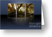 Beautiful Tree Greeting Cards - Mossy Tree Triptych 1 Greeting Card by Cheryl Young