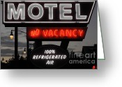 California Adventure Park Greeting Cards - Motel - No Vacancy - 5D17747 Greeting Card by Wingsdomain Art and Photography