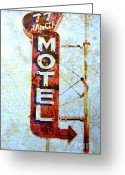 Peeling Paint Greeting Cards - Motel 77 Sign Greeting Card by Ann Powell