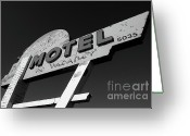 Motel Greeting Cards - Motel Sign   Greeting Card by Shelby McQuilkin