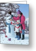 Boy Room Art Greeting Cards - Mother And Child Building Snowman Greeting Card by Martin Davey