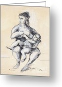 Feeding Drawings Greeting Cards - Mother and Child  Greeting Card by Elena Irving