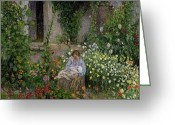 Mother And Child Greeting Cards - Mother and Child in the Flowers Greeting Card by Camille Pissarro