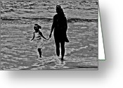 Surf Silhouette Digital Art Greeting Cards - Mother and Child Greeting Card by Leslie Revels Andrews