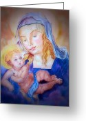 Christ Child Greeting Cards - Mother and Child Greeting Card by Myrna Migala