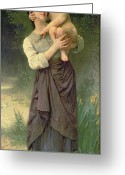 Motherly Greeting Cards - Mother and Child Greeting Card by William Adolphe Bouguereau