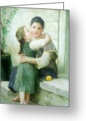 Color Image Painting Greeting Cards - Mother and Daughter Greeting Card by Unique Consignment