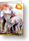 Rait Greeting Cards - Mother And Son Greeting Card by Steven Ponsford