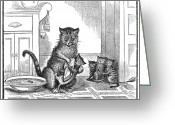 Responsibility Greeting Cards - Mother Cat, 1880 Greeting Card by Granger