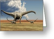 Female Animal Greeting Cards - Mother Diplodocus Dinosaur Walks Greeting Card by Corey Ford