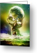Roman Greeting Cards - Mother Earth Greeting Card by Karen Koski