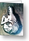Sacred Body Greeting Cards - Mother Earth Greeting Card by Paulo Zerbato