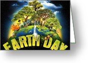Our Planet Greeting Cards - Mother Earth Greeting Card by Reproduction