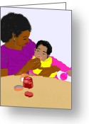 Feeding Drawings Greeting Cards - Mother Feeding Her Baby Greeting Card by Pharris Art