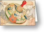 Cole Greeting Cards - Mother Goose Spinning Top Greeting Card by Glenda Zuckerman