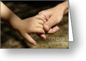 Human Hand Greeting Cards - Mother holding baby daughters hand Greeting Card by Sami Sarkis