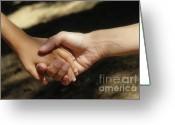 Responsibility Greeting Cards - Mother holding sons hand Greeting Card by Sami Sarkis