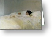Slumber Greeting Cards - Mother Greeting Card by Joaquin Sorolla y Bastida