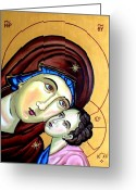 Love Reliefs Greeting Cards - Mother Mary Greeting Card by Murali