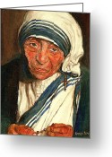 Mother Teresa Greeting Cards - Mother Teresa  Greeting Card by Carole Spandau