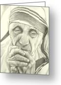 Mother Teresa Greeting Cards - Mother Teresa Greeting Card by Heidi  Kriel
