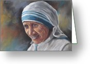 Mother Teresa Greeting Cards - Mother Teresa Greeting Card by Sam Pearson