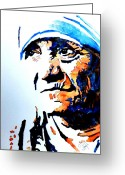 Watercolor Flowers Prints Greeting Cards - Mother Teresa Greeting Card by Steven Ponsford