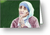 Mother Teresa Greeting Cards - Mother Teresa Greeting Card by Yoshiko Mishina