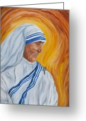Mother Teresa Greeting Cards - Mother Theresa- Meditation Greeting Card by Louis Jakub