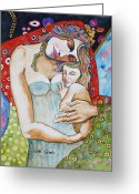 Motherhood Greeting Cards - Motherhood - Tribute to Klimt Greeting Card by Guri Stark