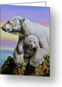 Polar Bear Greeting Cards - Motherhood Greeting Card by Jurek Zamoyski