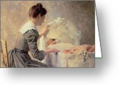 Kid Painting Greeting Cards - Motherhood Greeting Card by Louis Emile Adan