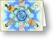 Japan Painting Greeting Cards - Mothering Mandala Greeting Card by Karen MacKenzie